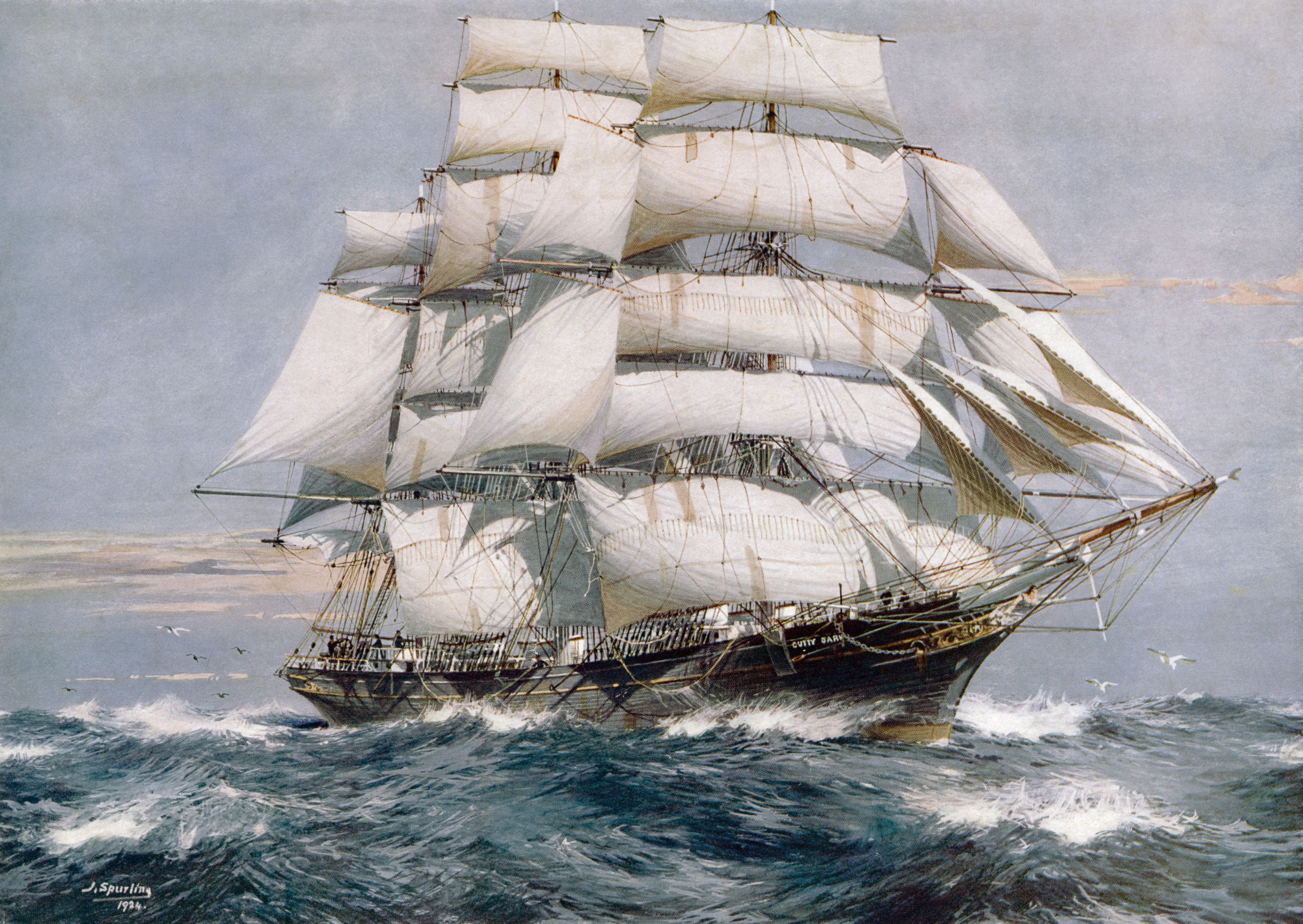 A painting of the Cutty Sark