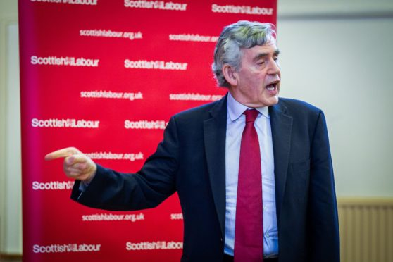 Gordon Brown speaking to Labour members at Larkhall Community Centre