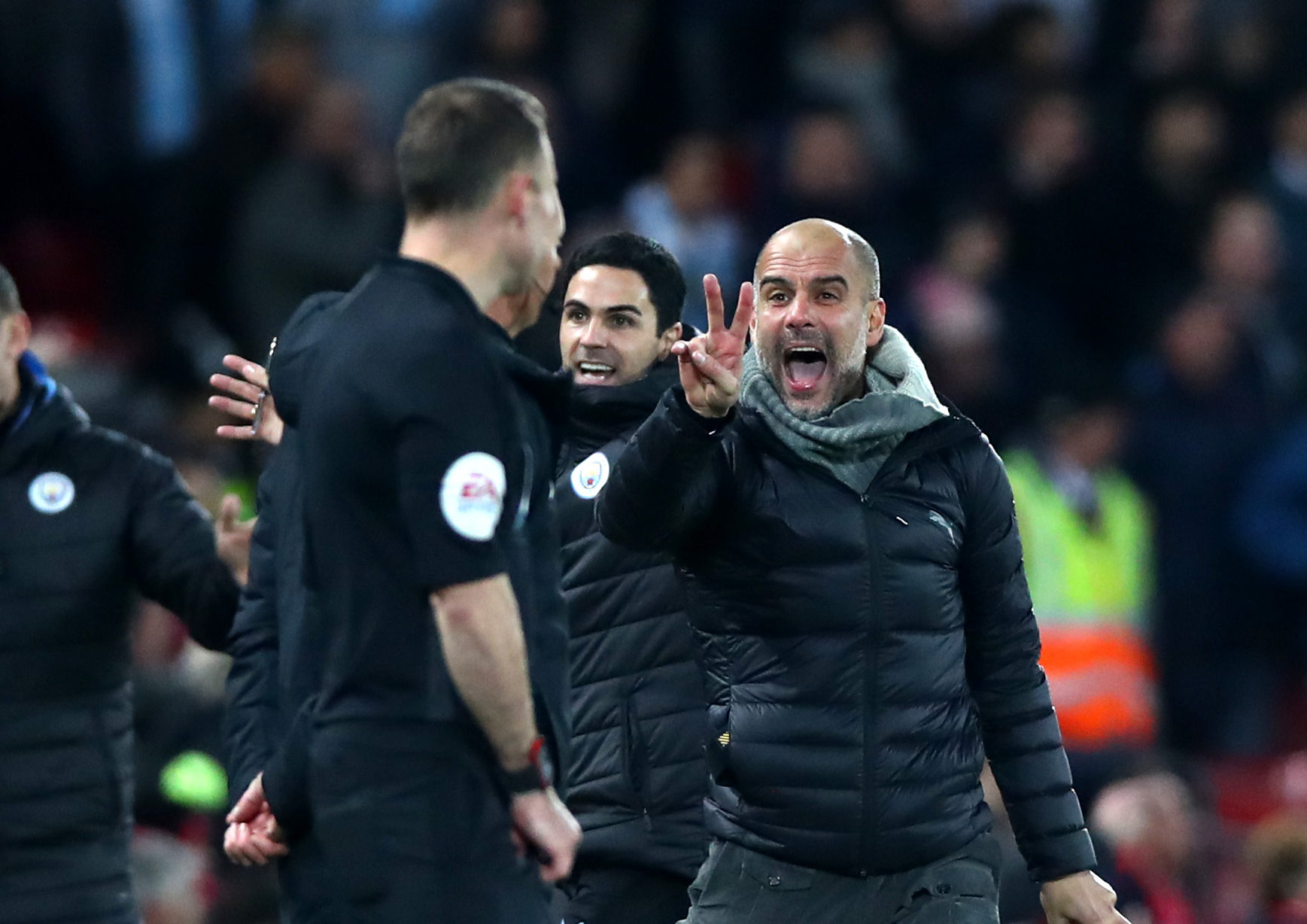 Manchester City Manager Pep Guardiola reacts during the Premier League match between Liverpool FC and Manchester City at Anfield.