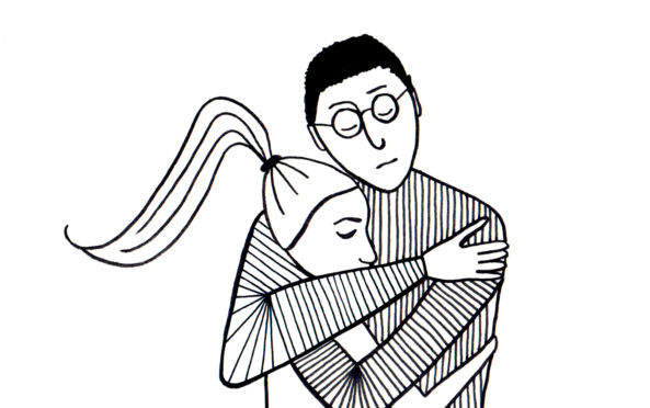 Hugging Em, an illustration from Mark Simmonds' book