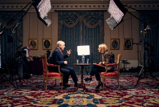 Prince Andrew is quizzed by the BBC's Emily Maitlis during the interview at Buckingham Palace,