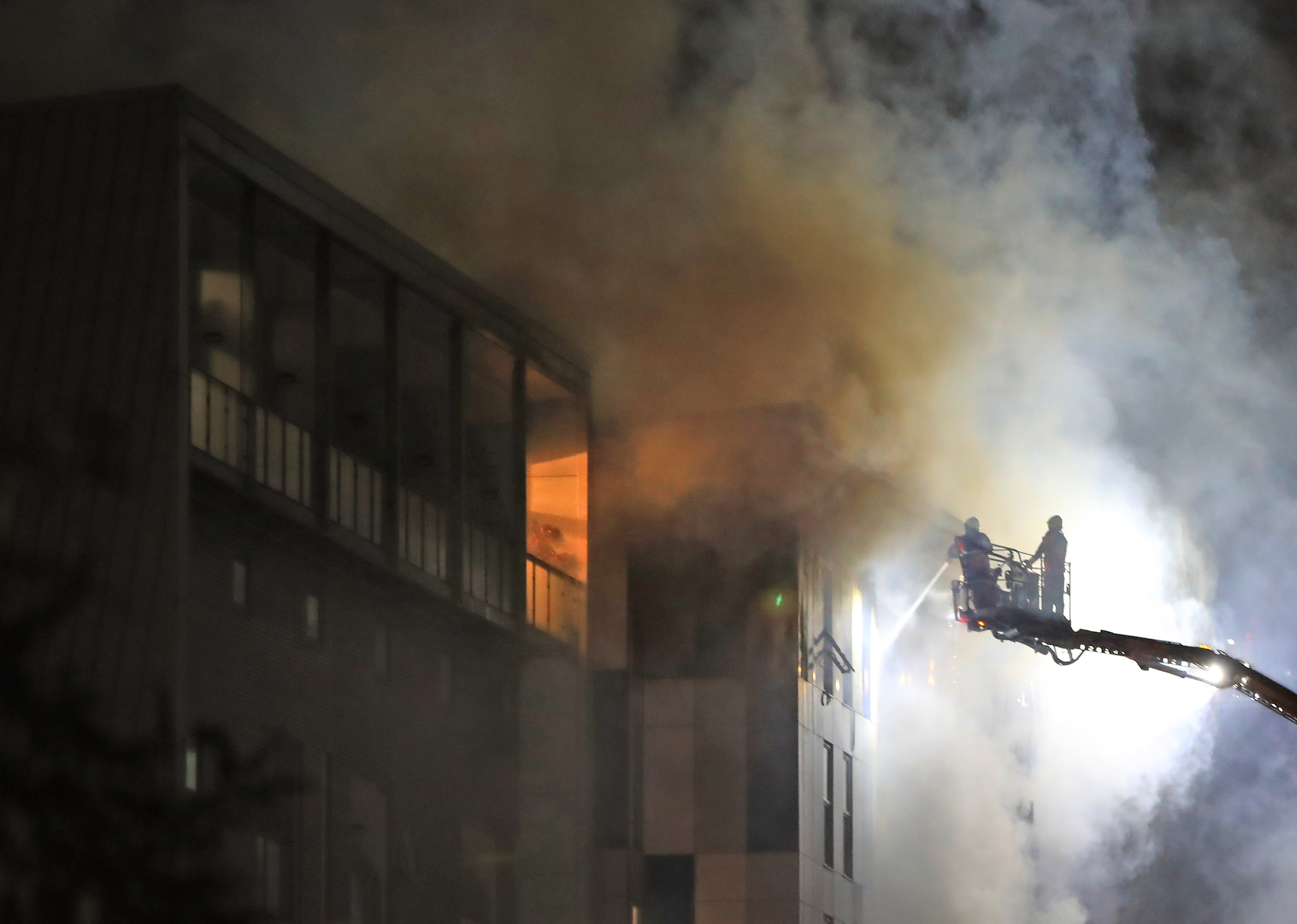 Fire fighters at the scene of the blaze