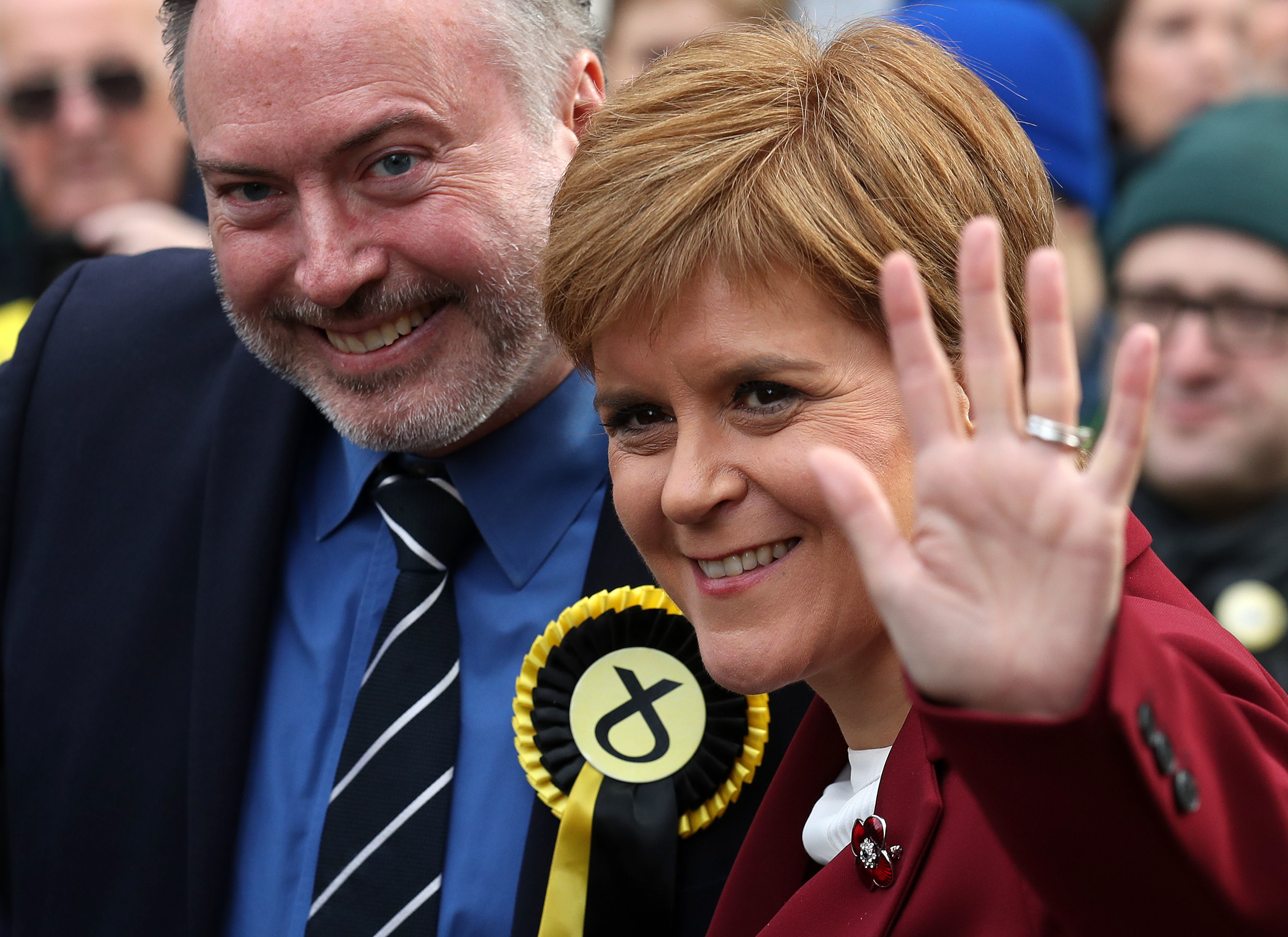 SNP leader Nicola Sturgeon joins Alyn Smith, the SNP's candidate for Stirling, on the general election campaign trail