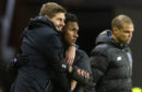 Rangers' Alfredo Morelos (right) with manager Steven Gerrard