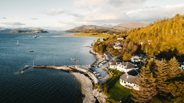 The Pierhouse (and pier) in Port Appin, Argyll