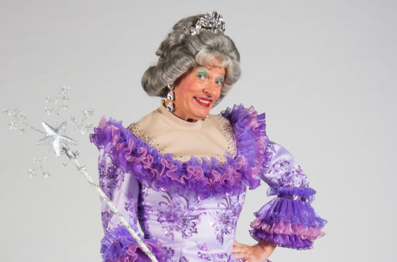 Allan Stewart in character as a panto dame