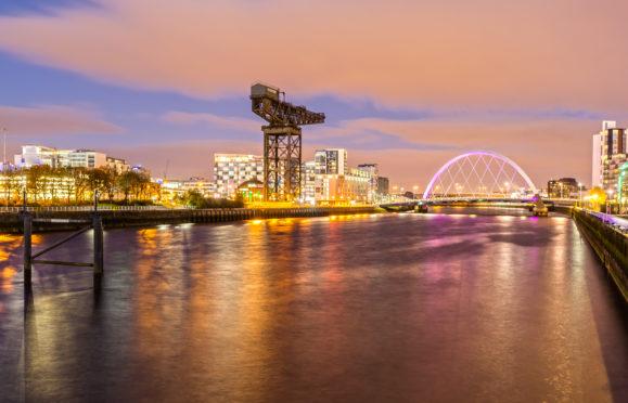 Glasgow skyline at night