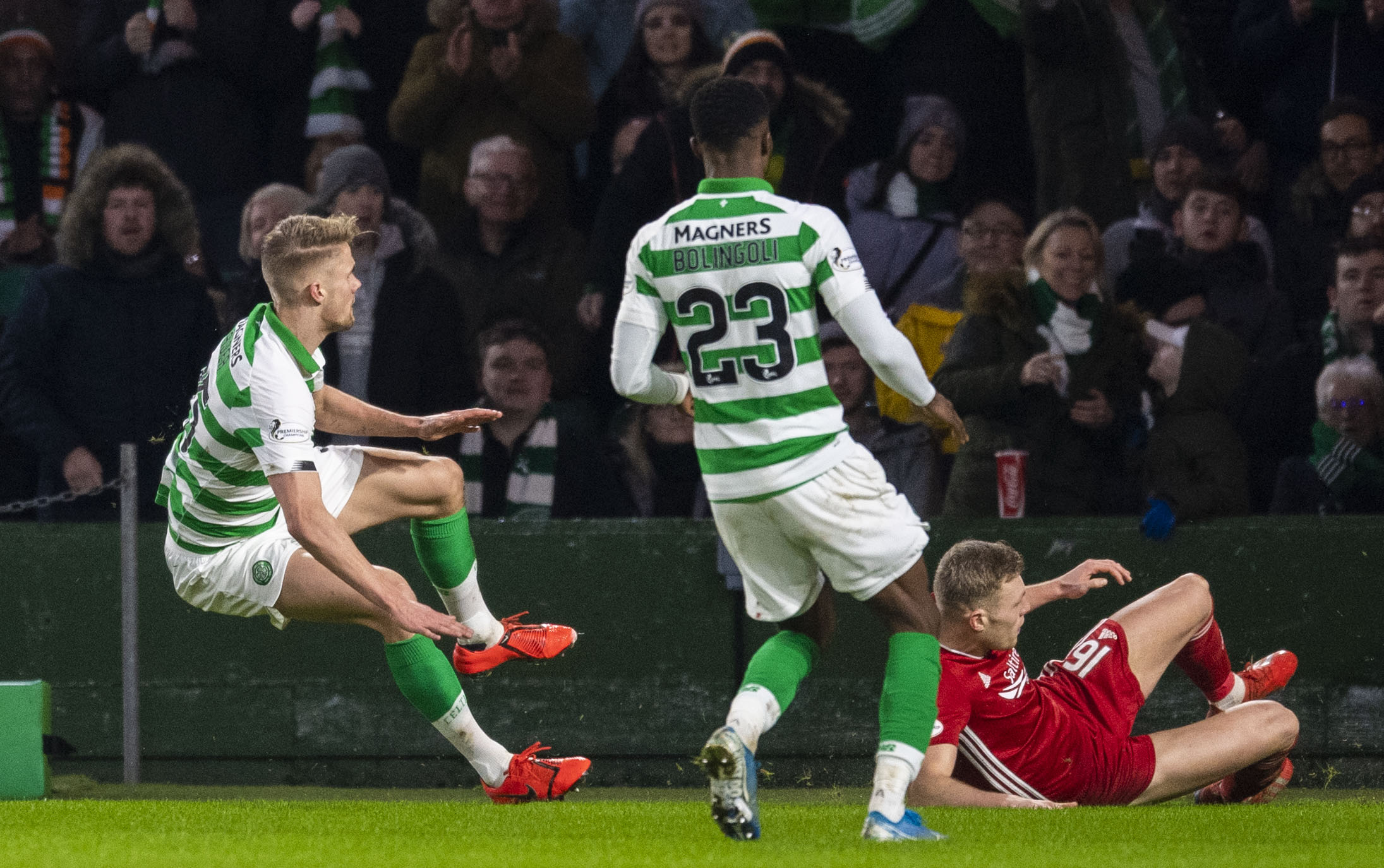 The tackle on Kris Ajer that saw Sam Cosgrove sent off at Celtic Park last Saturday