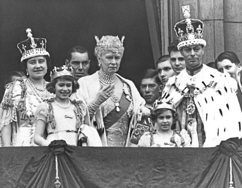 The Royal Family on the balcony at Buckingham Palace after the coronation of King George VI of England. Shown are (from left to right): Queen Elizabeth; Princess Elizabeth; Queen Mary the Queen Mother; Princess Margaret; and King George VI.