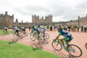 The 2005 Tour of Britain. Stage 1: Glasgow to Castle Douglas (114.5 miles). The leaders pass Drumlanrig Castle Thornhill.