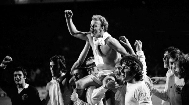 Scotland captain Billy Bremner is carried shoulder high after Scotland had beaten the Czechs in September, 1973, to qualify for the World Cup Finals