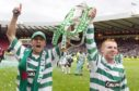 Stilian Petrov and Neil Lennon parade the Scottish Cup after beating Dundee United in 2006