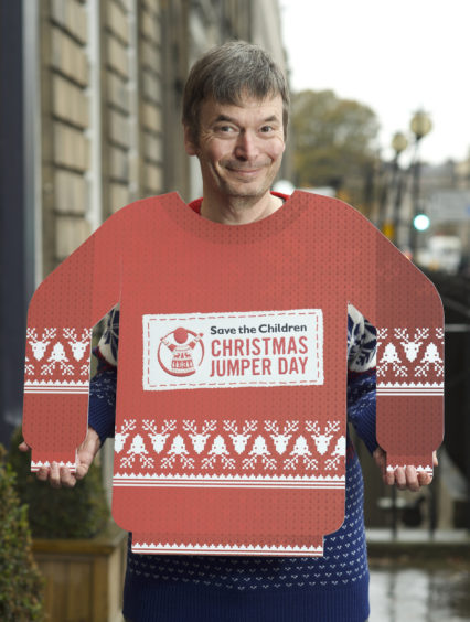 Author Ian Rankin for the Save the Children Christmas jumper appeal.
