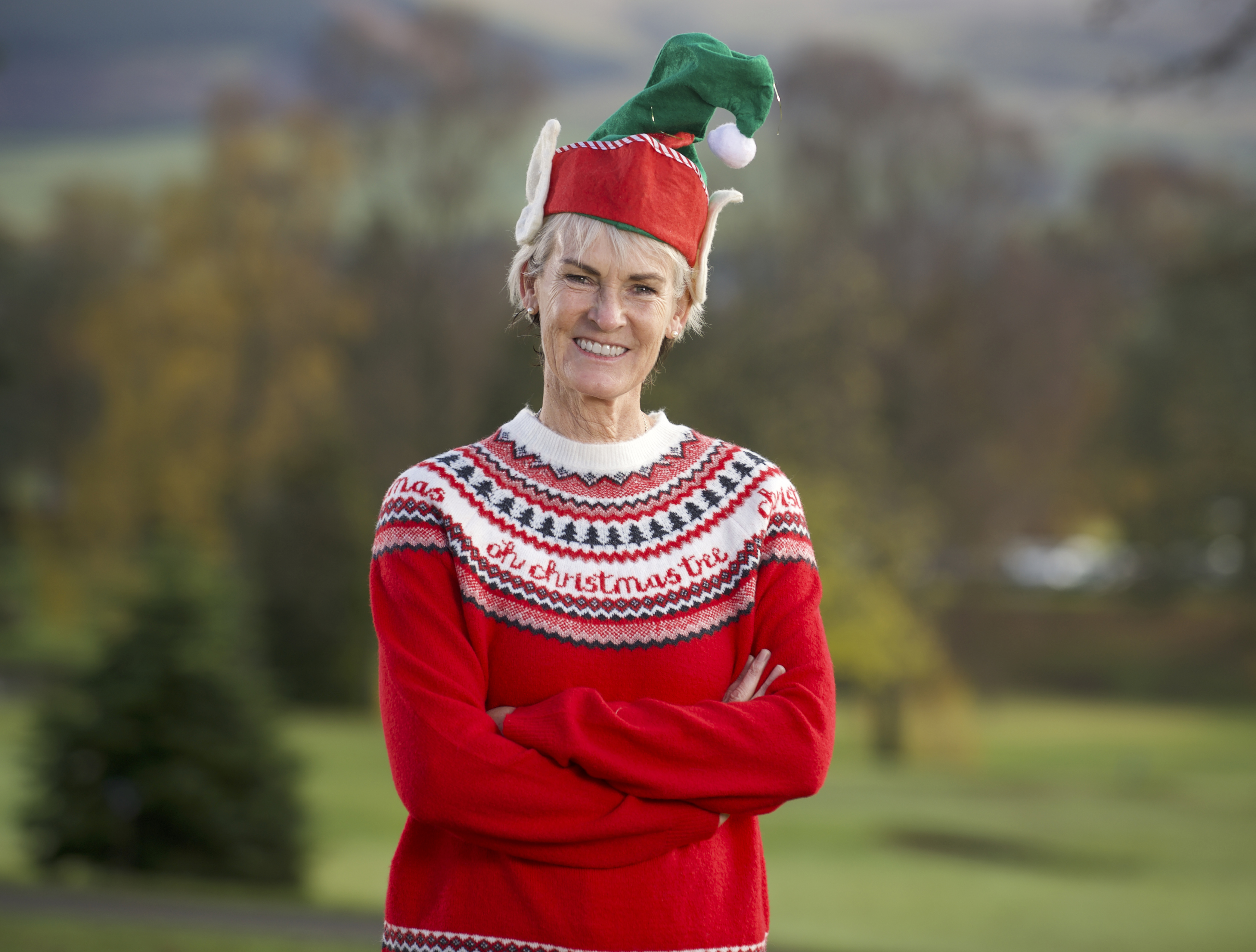 Judy Murray with a Christmas jumper for Save the Children Christmas jumper appeal.