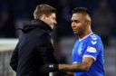 Rangers boss Steven Gerrard with star striker Alfredo Morelos