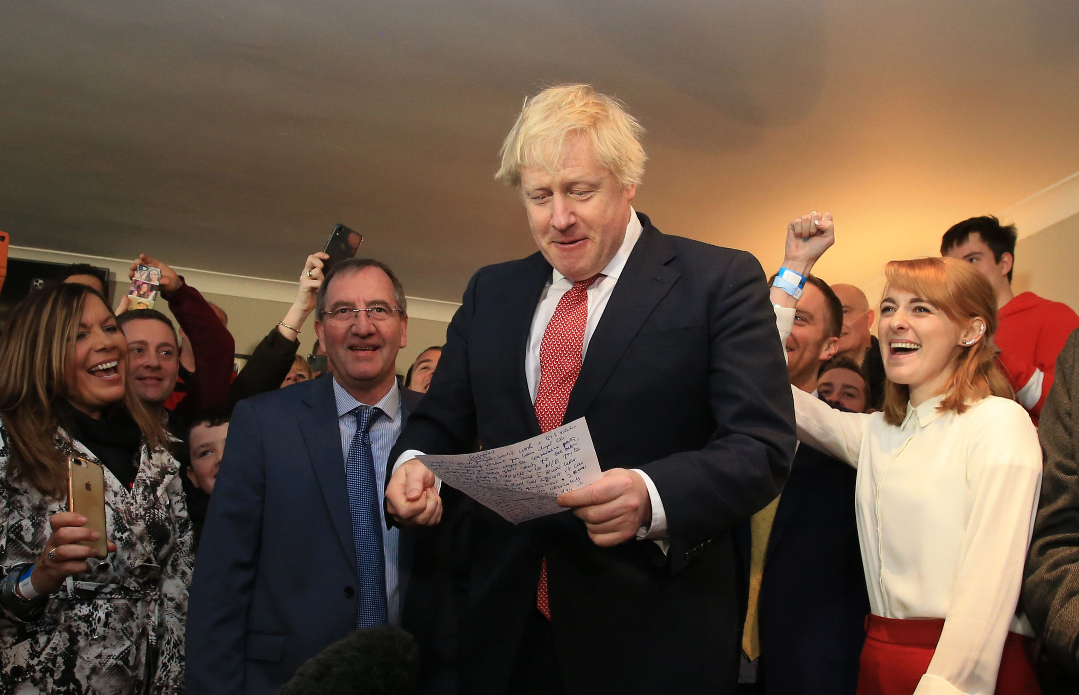 Boris Johnson speaks to  supporters in a cricket club in Sedgefield in Durham after the Tory election victory