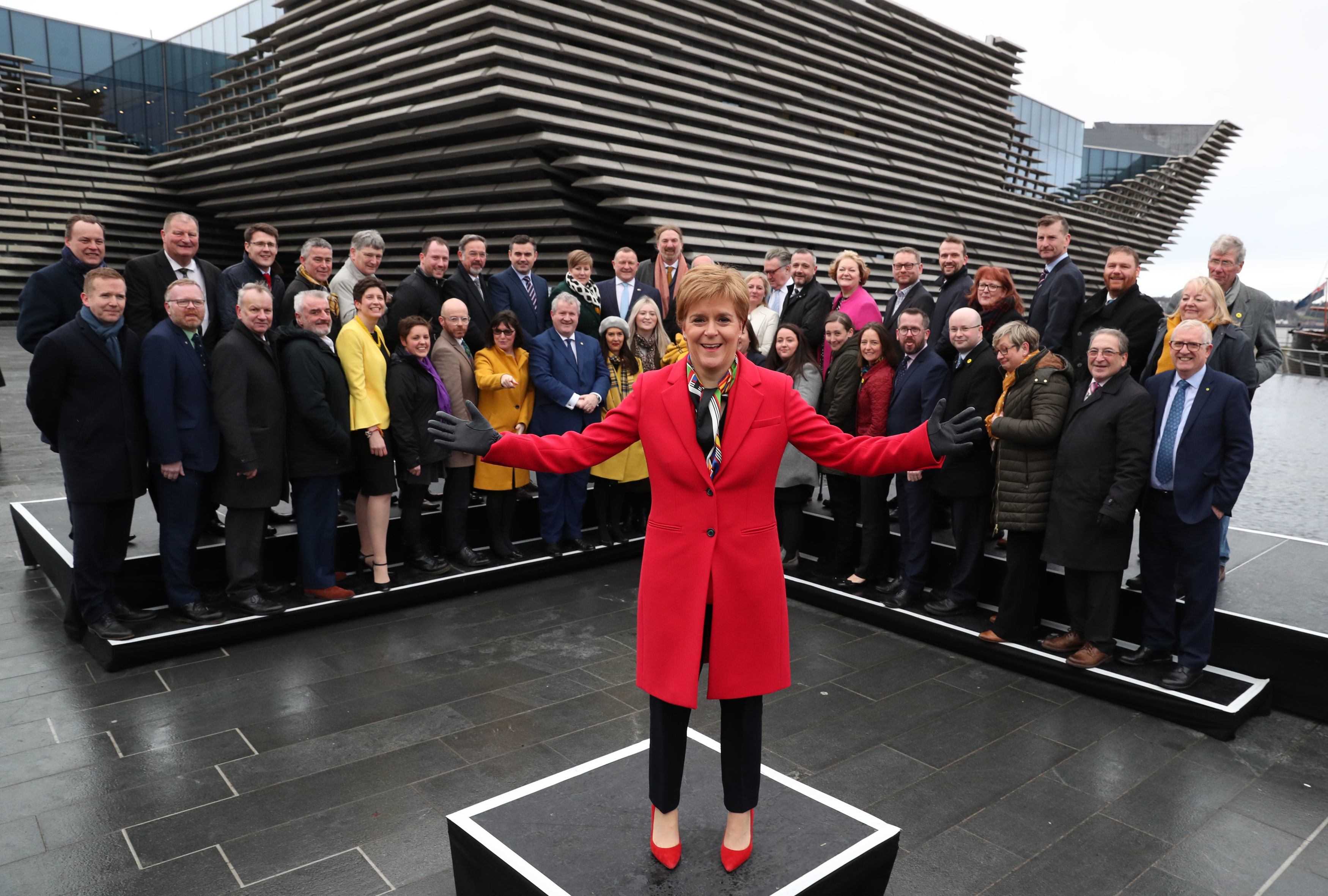 First Minister and SNP leader Nicola Sturgeon at the V&A Museum, in Dundee, where she joined her party's newly elected MPs yesterday