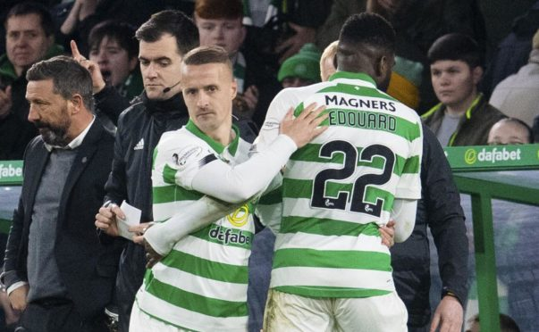 Leigh Griffiths comes on for Odsonne Edouard (right) during the Hoops' win over Aberdeen