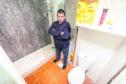 Stuart Melville in his bathroom.
