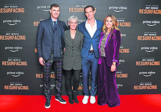 "Jamie Murray, Judy Murray, Andy Murray and Kim Sears attend the ""Andy Murray: Resurfacing"" world premiere at the Curzon Bloomsbury on November 25, 2019."