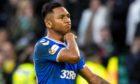 Rangers' Alfredo Morelos gestures to fans after being sent off against Celtic