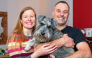 Suzanne Graham with husband Neil and dog Ozzy at home in Glasgow