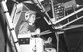 Astronaut trainee Jerrie Cobb learns to control spacecraft spin