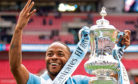 Raheem Sterling with the FA Cup