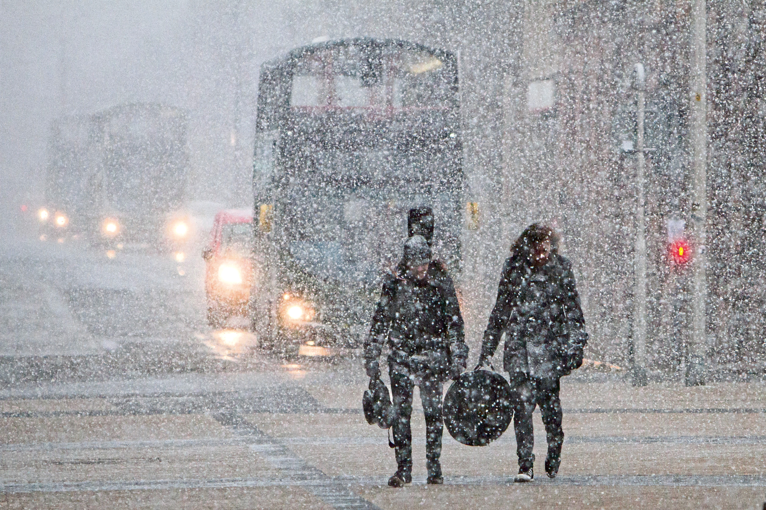 Weather warnings are in place for snow and ice
