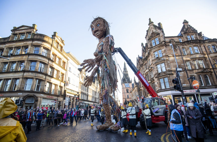 The ten-metre tall sea goddess is made entirely from recycled materials