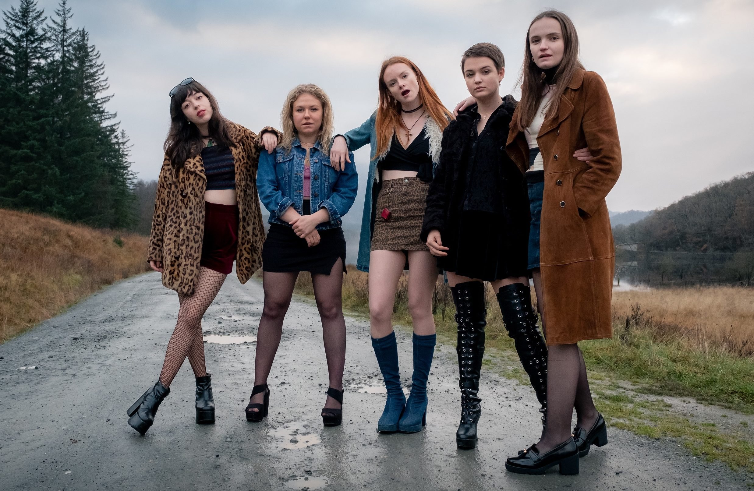 Marli Siu, Sally Messham, Rona Morison, Tallulah Greive, and Abigail Lawrie, in a scene from Our Ladies, a comedy film by Michael  Caton-Jones, set in the 1990s about six Catholic school girls travelling to Edinburgh for a choir competition