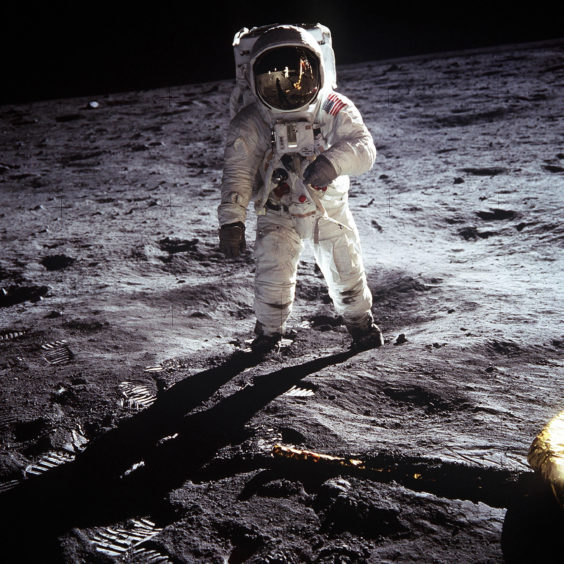 Buzz Aldrin on the moon on July 20, 1969