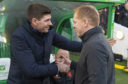 Rangers manager Steven Gerrard with Celtic manager Neil Lennon