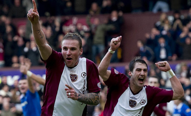 Ryan Stevenson celebrates scoring the winner in a 1-0 victory for Hearts over Rangers nine years ago