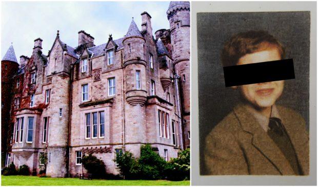 Sexual abuse survivor Tom Davis as a pupil at Queen Victoria School in Dunblane, left
