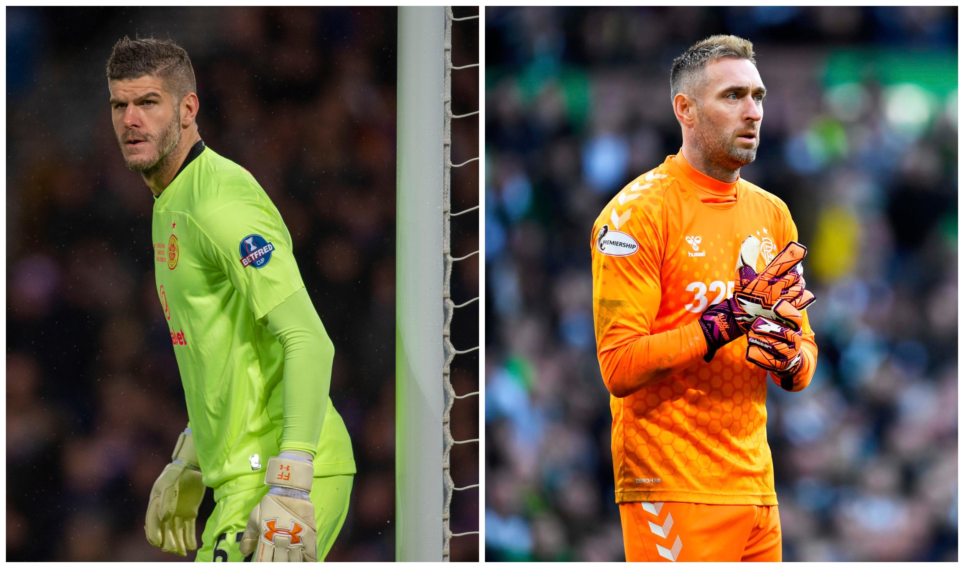 Celtic's Fraser Forster (left) and Rangers' Allan McGregor