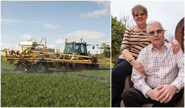 Iain Glen, who had breast cancer, and his wife May at home in East Whitburn, right, and left, a tractor sprays pesticides on a wheat field in North Berwick