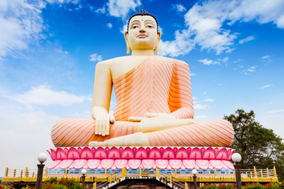 The huge sitting Buddha statue at the Kande Viharaya Temple  in the village of Aluthgama