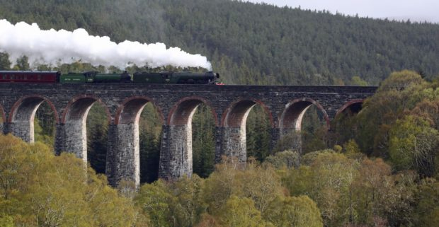 The Flying Scotsman on the Perth to Inverness railway