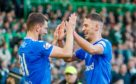 Nikola Katic (right) celebrates his goal against Celtic with countryman Borna Barisic