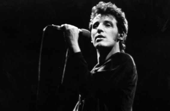 Bruce Springsteen on stage at Madison Square Garden in New York for a No Nukes concert in 1980
