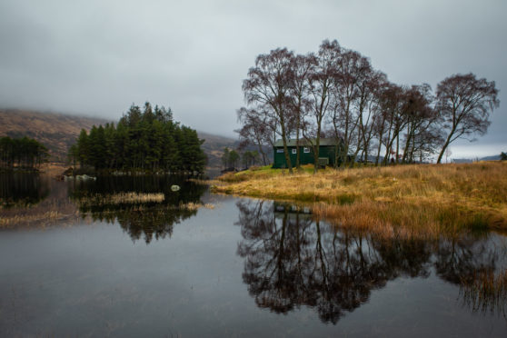 The remote Loch Ossian Youth Hostel