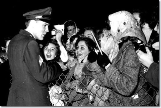 Fans greeting Elvis Presley during his only British visit at Prestwick Airport on March 2, 1960