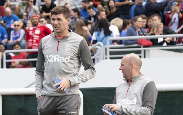 Gary McAllister with Steven Gerrard during Rangers' bounce game against Lokomotiv Tashkent in Dubai