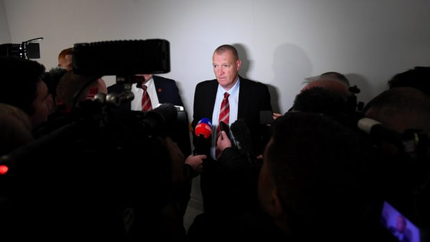 Hamilton Manager Brian Rice speaks to the media after receiving his SFA punishment
