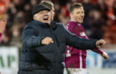 Arbroath manager Dick Campbell celebrates his side's win over Dundee United