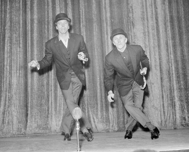 Douglas was also a keen philanthropist and is pictured here with actor Burt Lancaster rehearsing their song and dance act in preparation for Night of 100 Stars at the London Palladium in 1958