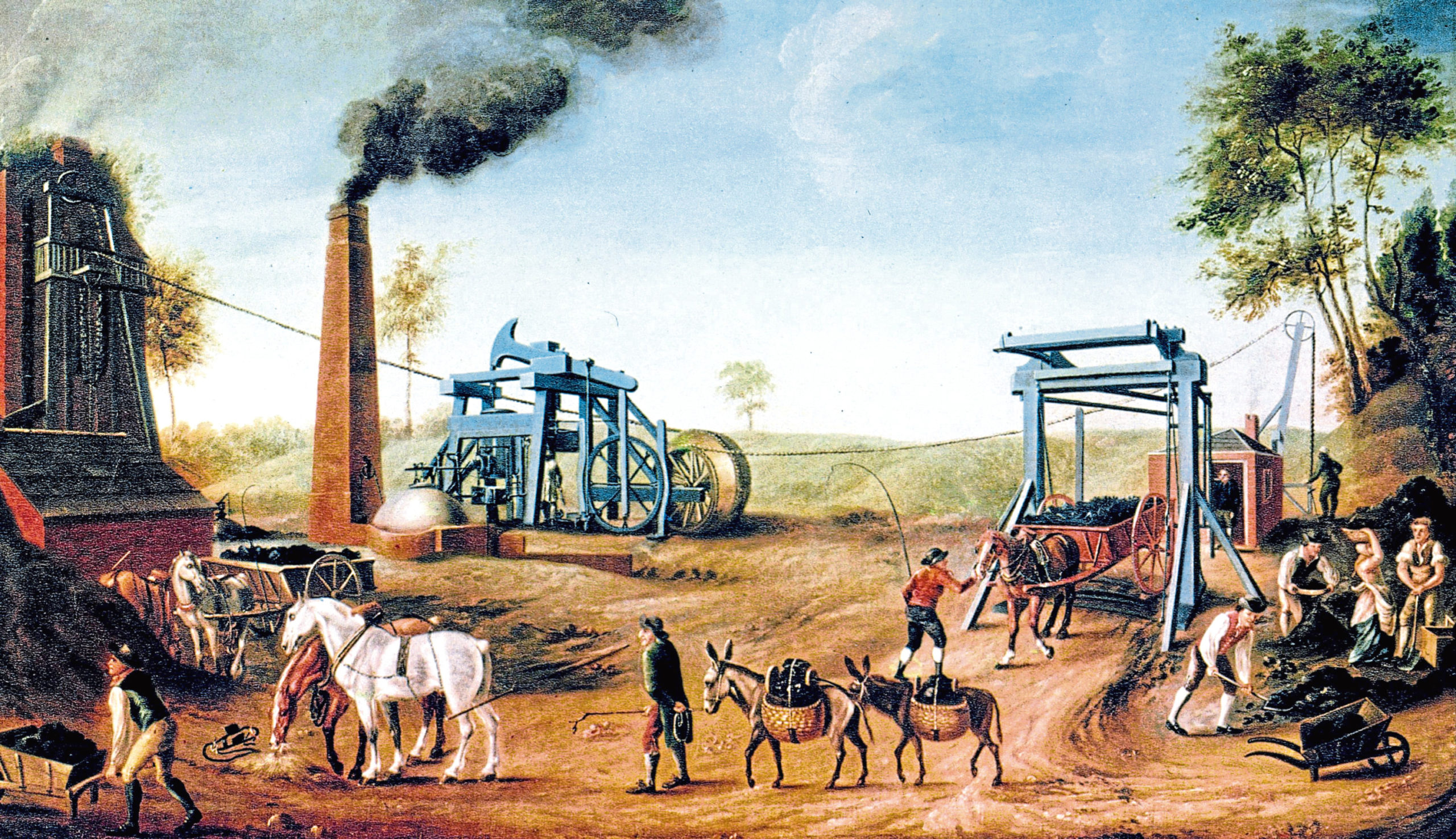 Painting of a James Watt steam engine at a coal mine in the 1790s. Scot William Murdoch is said to have made many improvements to the design but was never credited