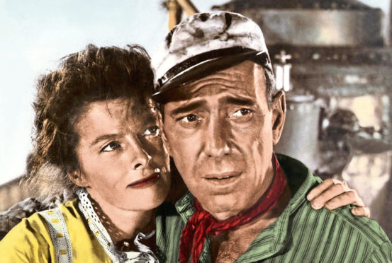 Katharine starring in The African Queen with Humphrey Bogart, 1951