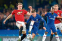 Billy Gilmour contests possession with Manchester United's Scott McTominay. Could they be playing together for Scotland in the Euro 2020 play-off against Israel next month?